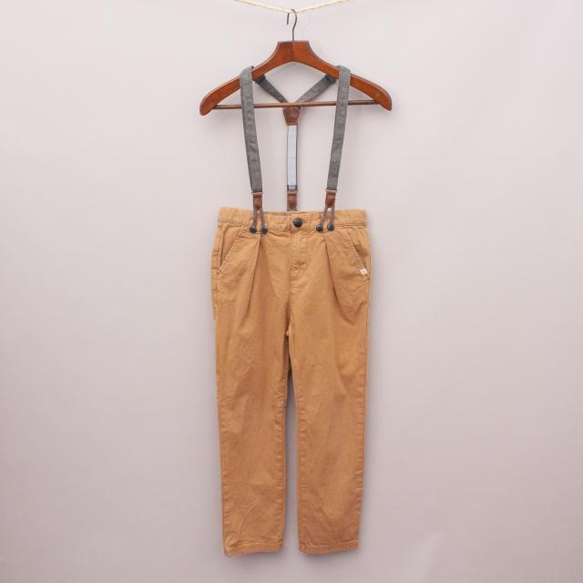 Zara Brown Pants & Suspenders