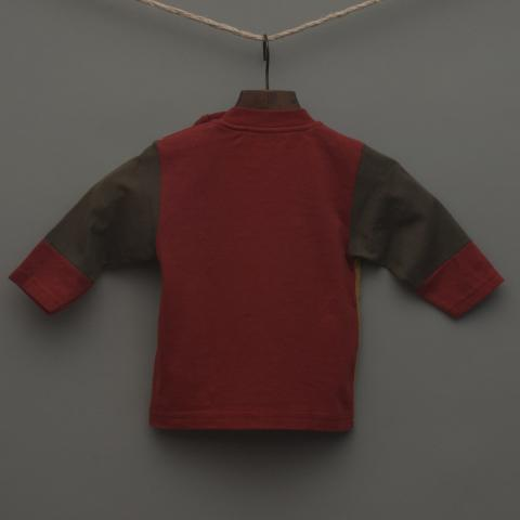 Red, Yellow and Charcoal Long Sleeve Top