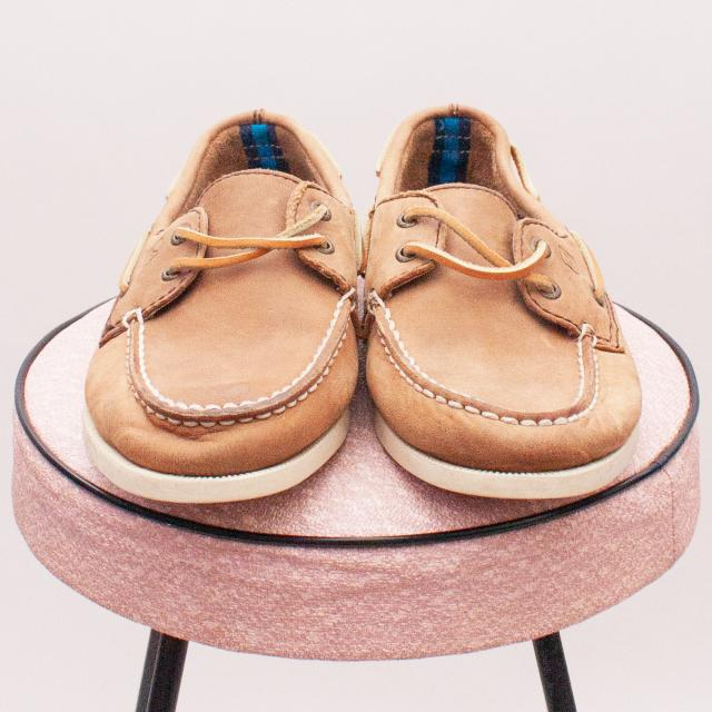 J Crew Leather Boat Shoes - Size EU 33.5 (Age 6 Approx.)