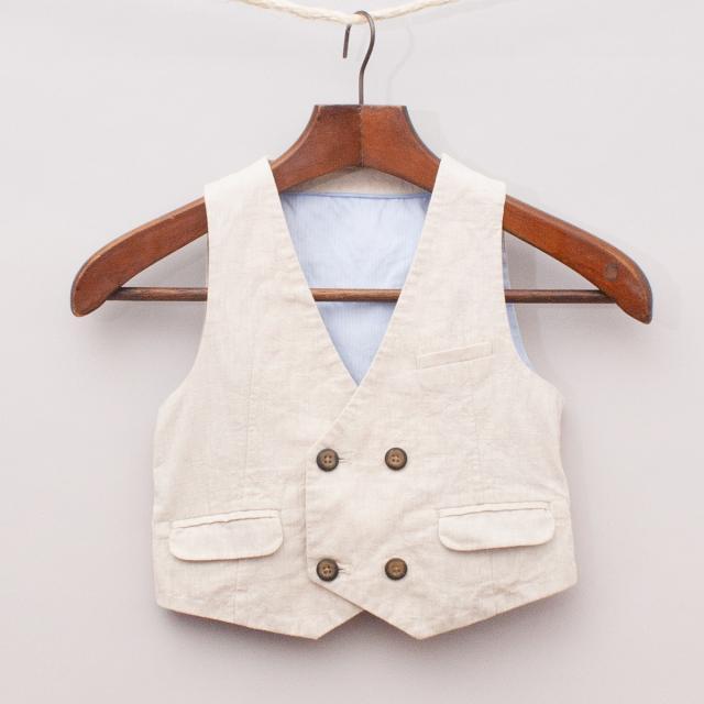 M&S Beige Linen/Cotton Vest