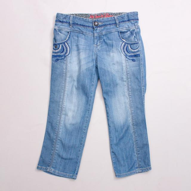 Catimini Embroidered 3/4 Jeans