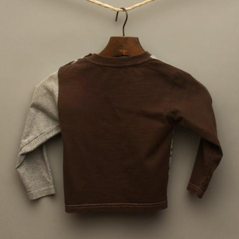 Brown and Grey Long Sleeve Top