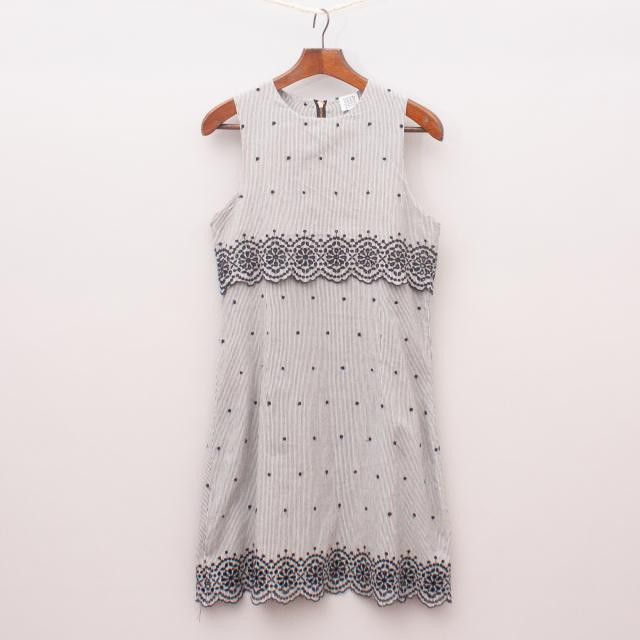 Seed Striped & Embroidered Dress