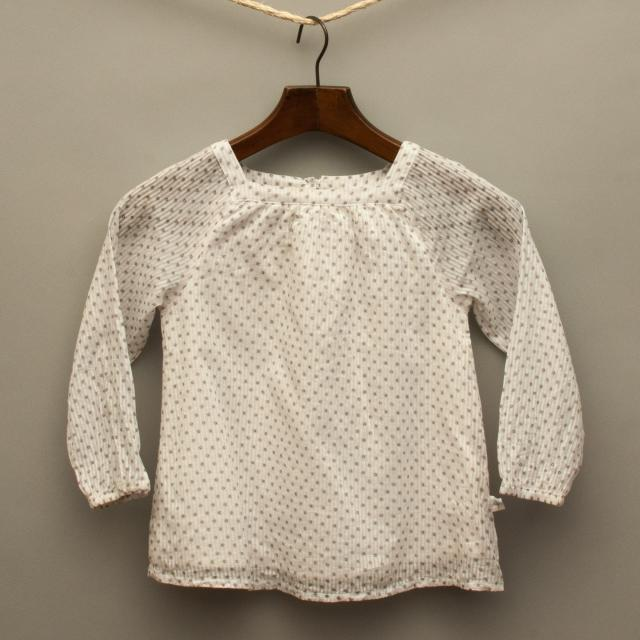 Beige and White Long Sleeve Top
