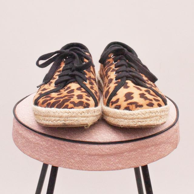Cotton On Leopard Lace Up's - EU 34-35 (Age 7-8 Approx.)
