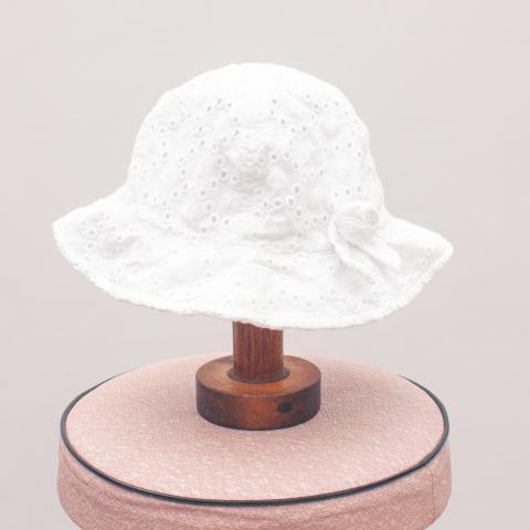 Blue Zoo White Sun Hat - 6-12Mths
