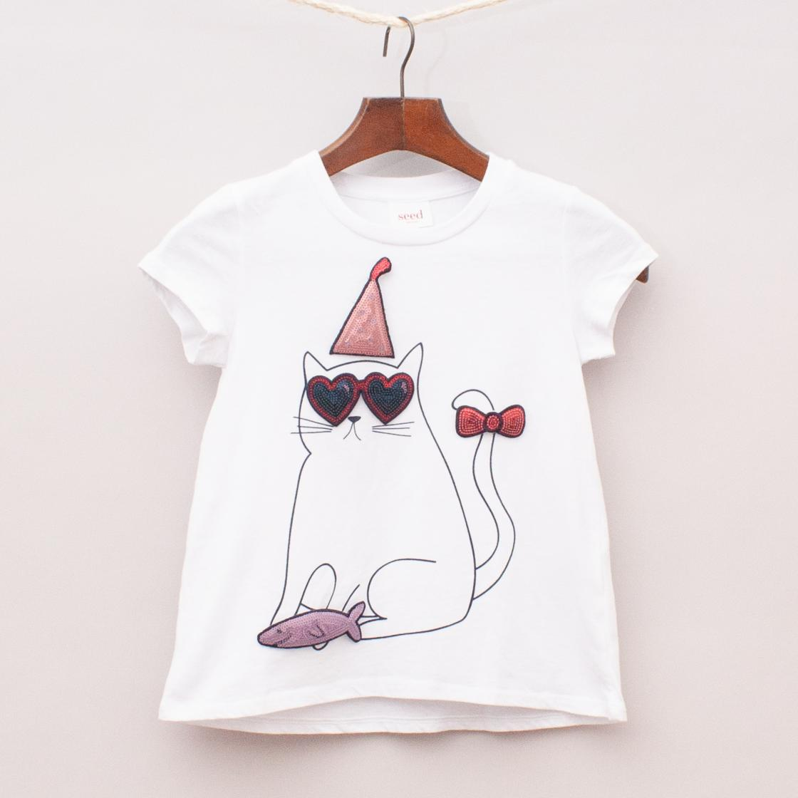 Seed Embellished Cat T-Shirt