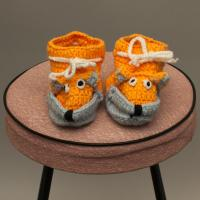 Orange and Blue Knitted Booties