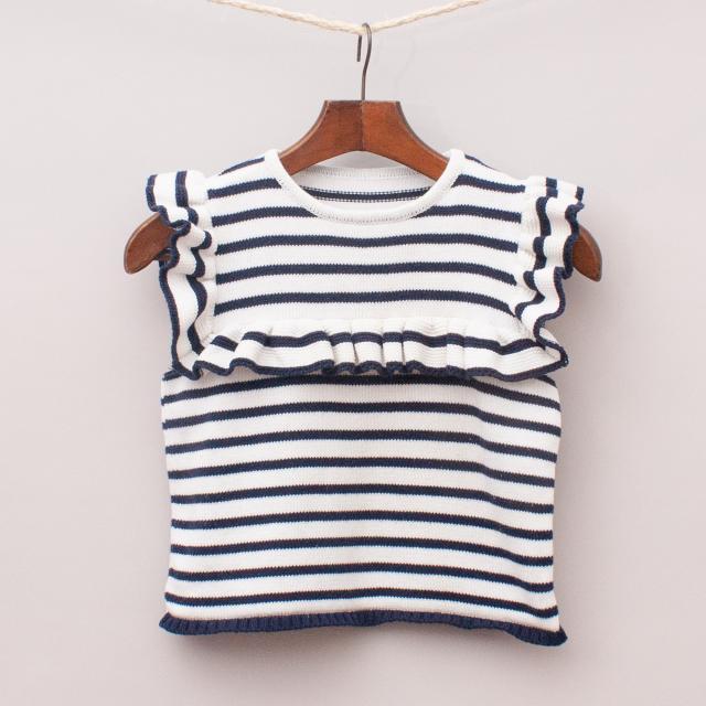 Navy Blue & White Striped Top