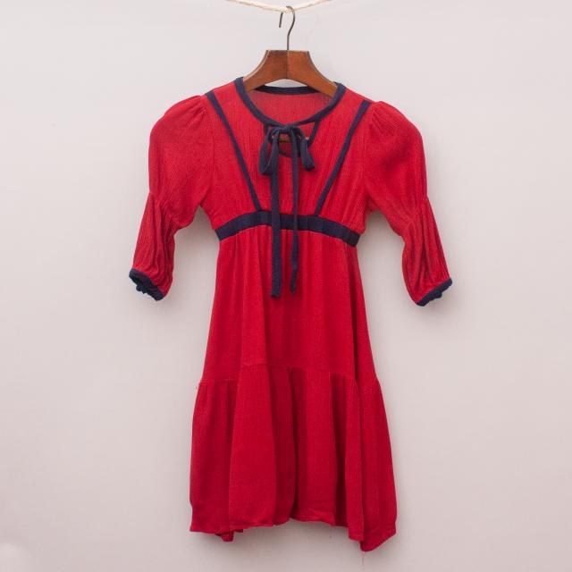 Red & Navy Floaty Dress