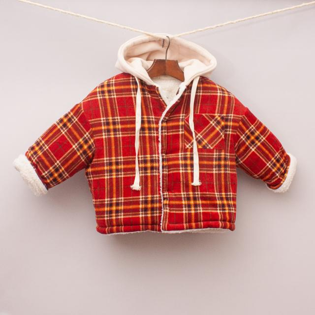 Cream Kids Plaid Jacket