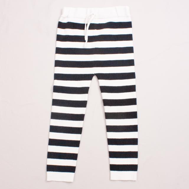 Cream Kids Striped Leggings