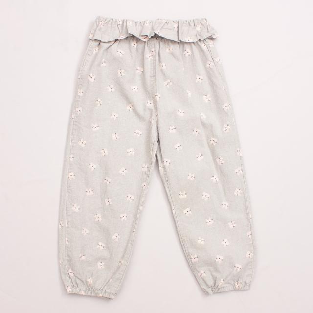 Grey Cat Patterned Pants