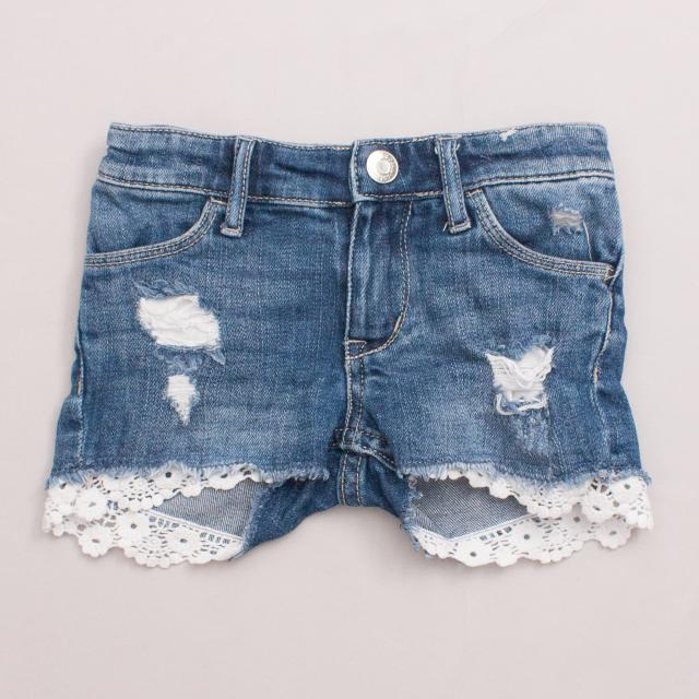 &Denim Distressed Shorts