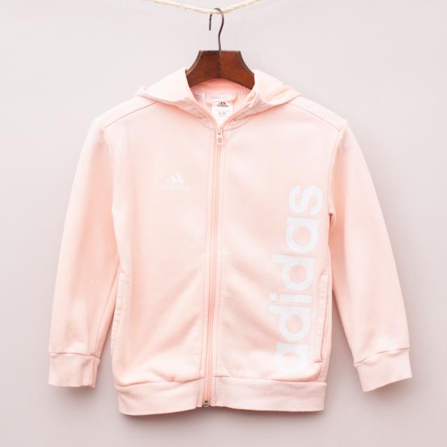 Adidas Pink Hooded Jumper