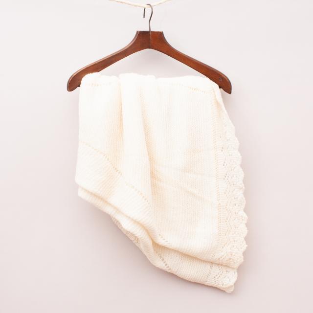 Handknitted Wool Cream Blanket - 135cm x 120cm Approx.